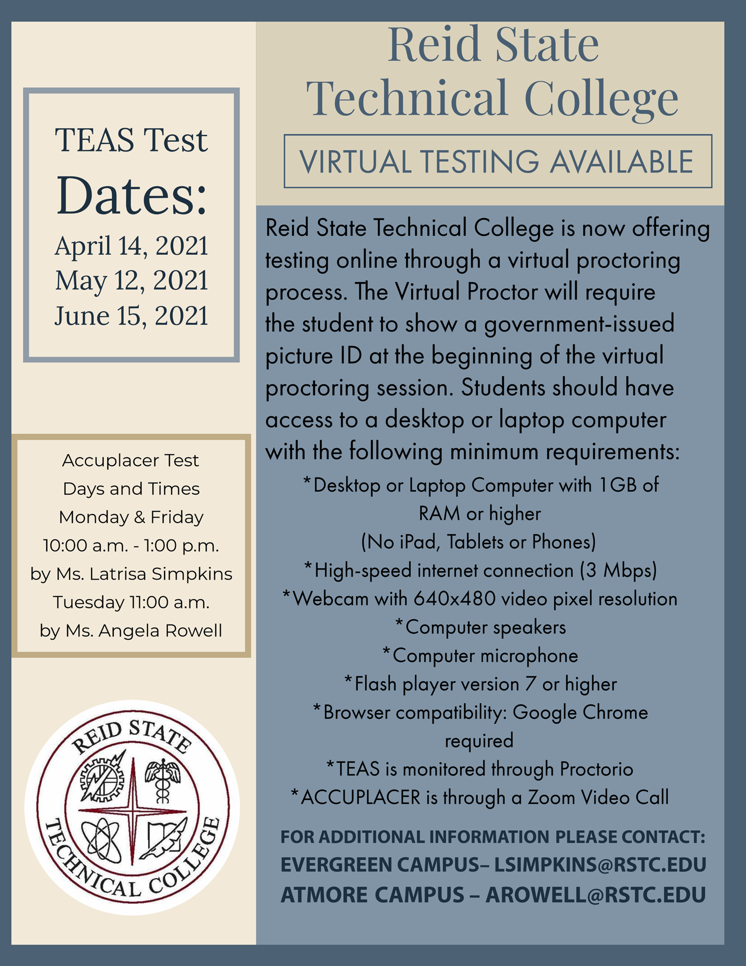 Reid State Virtual Testing Poster