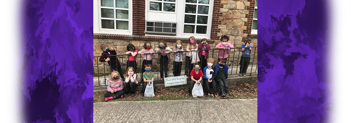 kids collecting trash