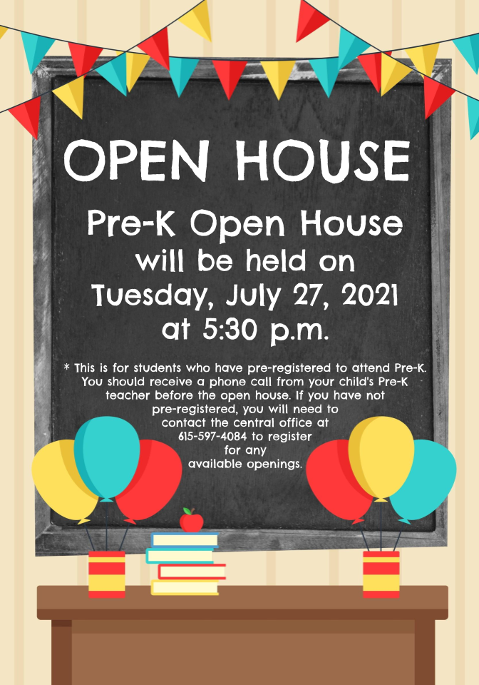 Pre-K  Open House Tuesday, July 27 at 5:30 pm