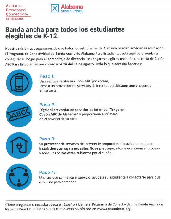 Broadband for Every Eligible Student Flyer Spanish