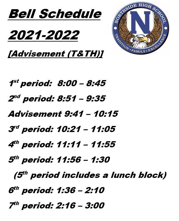 Advisement bell schedule