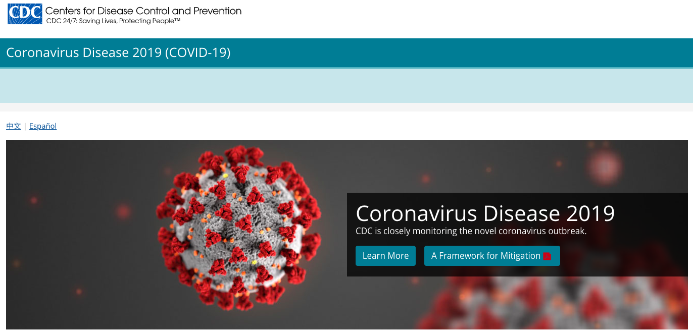 COVID 19 Information - CDC Website