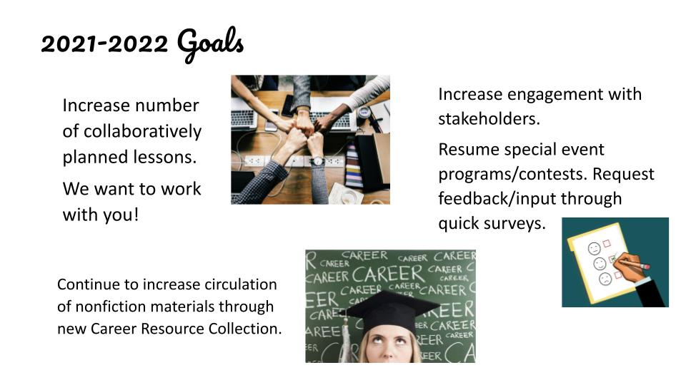 2021-2022 Goals Increase number of collaboratively planned lessons. We want to work with you!  Continue to increase circulation of nonfiction materials through new Career Resource Collection.  Increase engagement with stakeholders. Resume special event programs/contests. Request feedback/input through quick surveys.