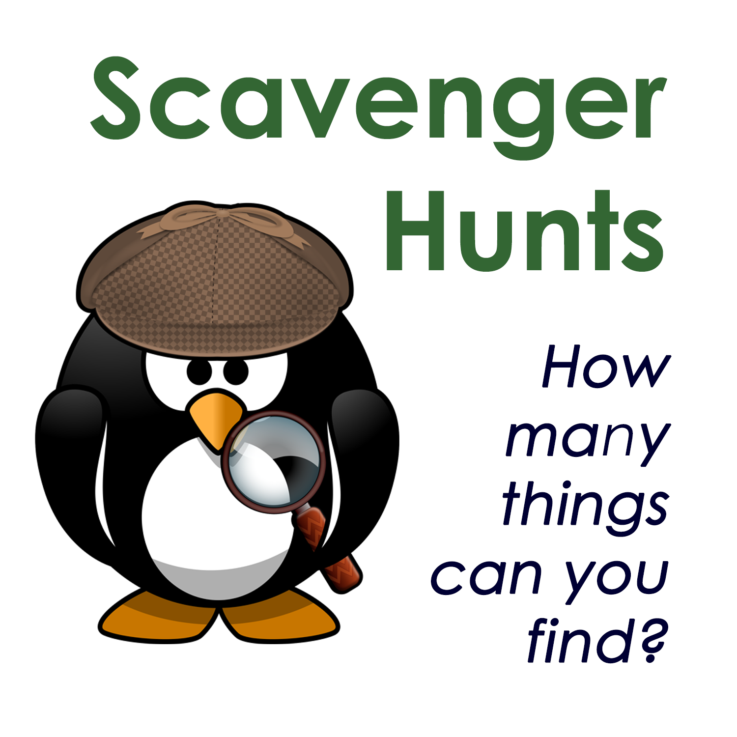 Detective penguin Scavenger Hunt image with link to Activities page