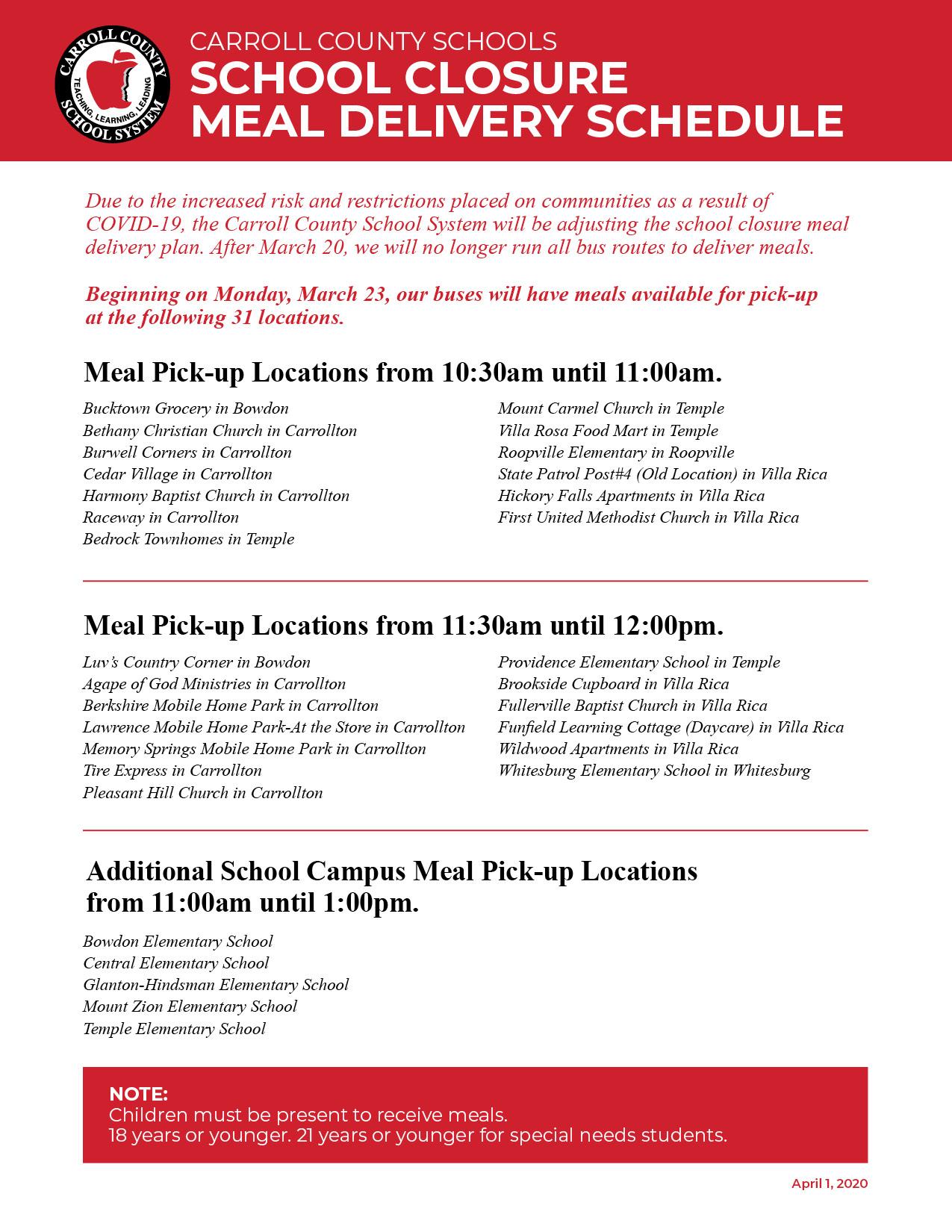 School Closure Meal Delivery Schedule