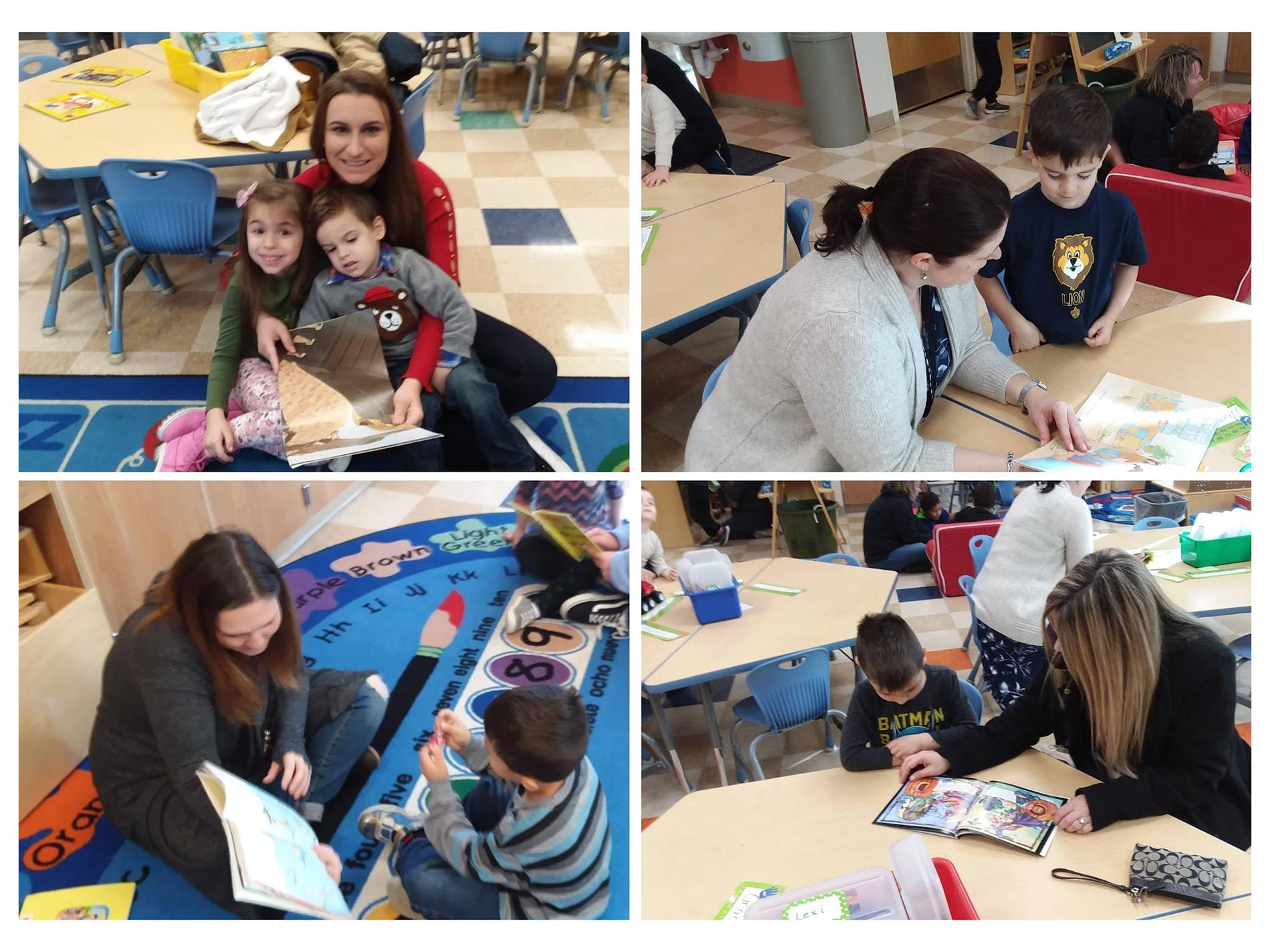 Parent and students reading