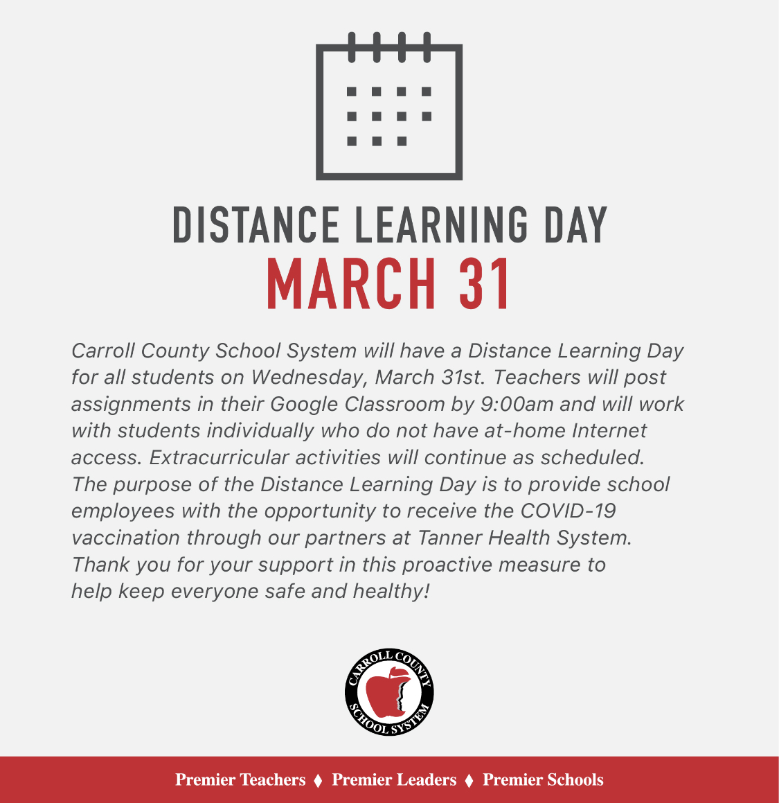 distance learning day March 31st
