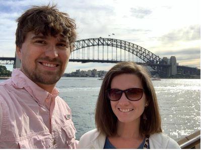 Mrs. Johnson and her husband in Sydney, Australia