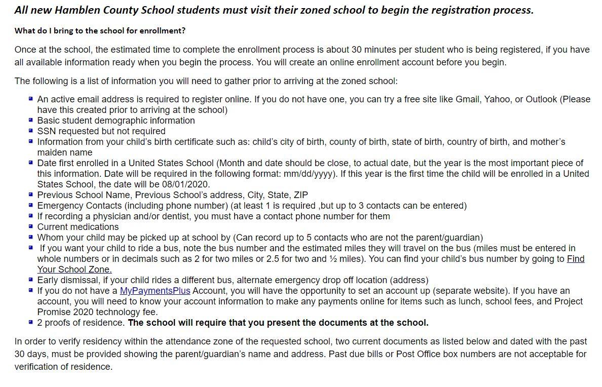 New Student Enrollment Requirements