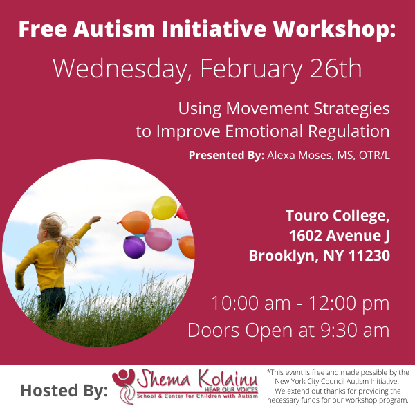 Autism Workshop: Using Movement Strategies to Improve Emotional Regulation