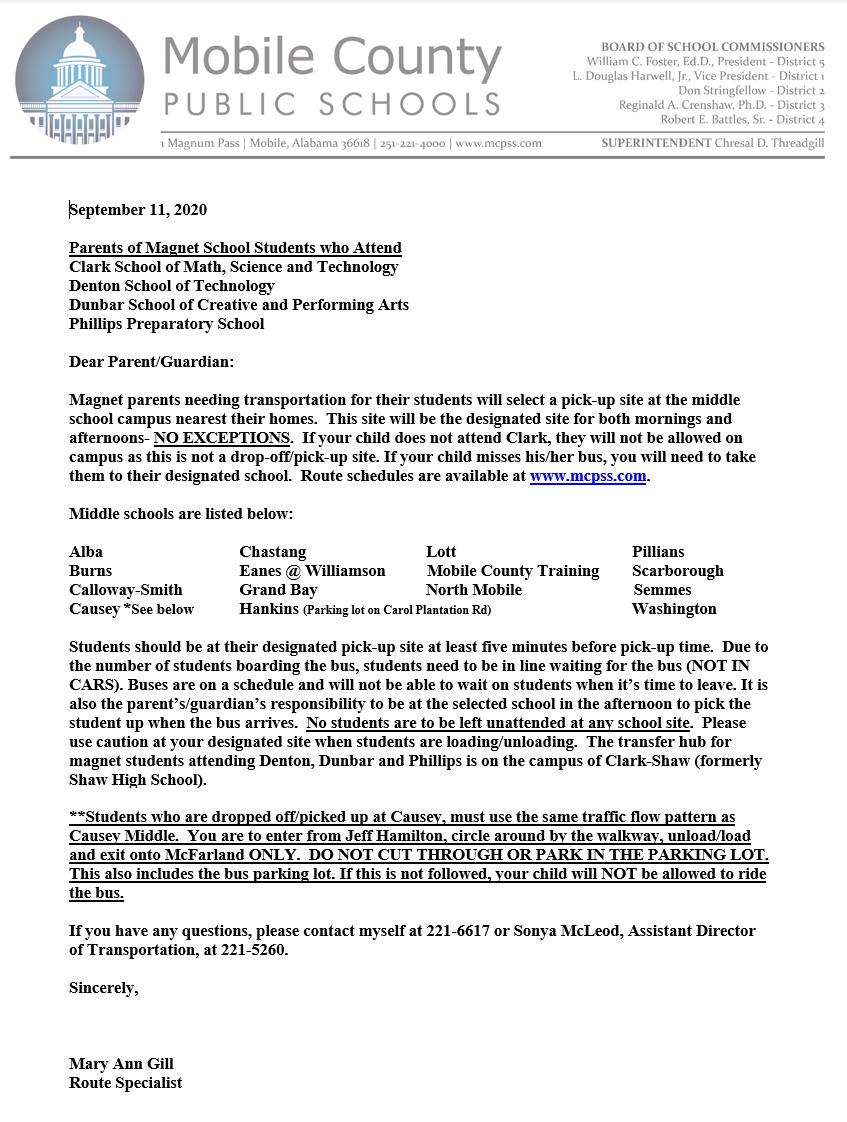 Magnet bus letter