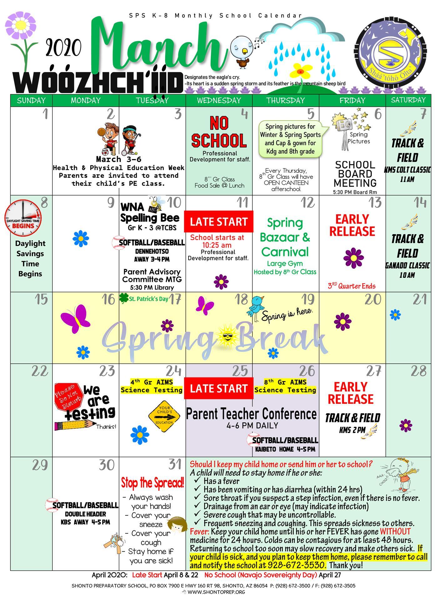 March 2020 K-8 Calendar