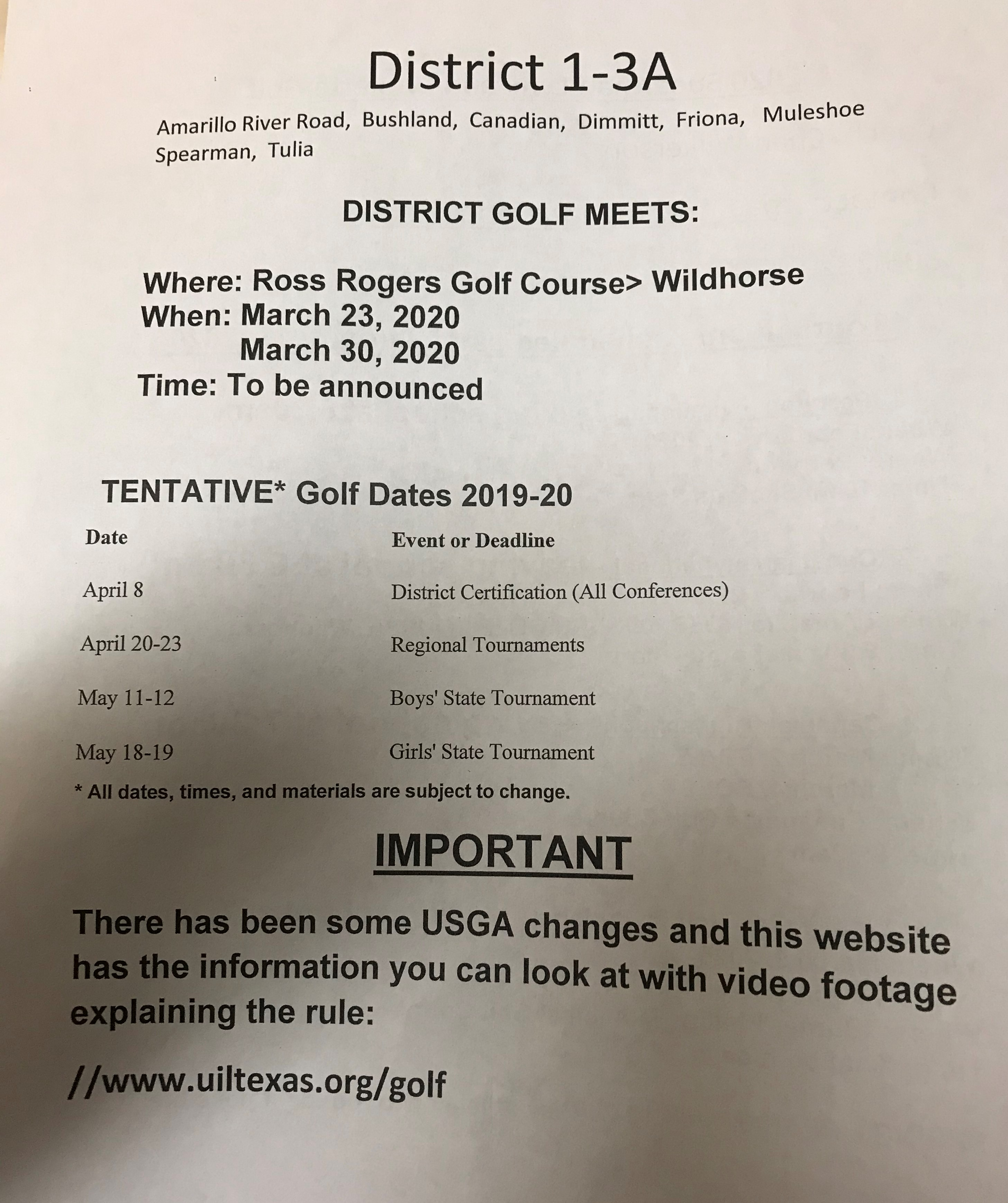 Golf schedule page2