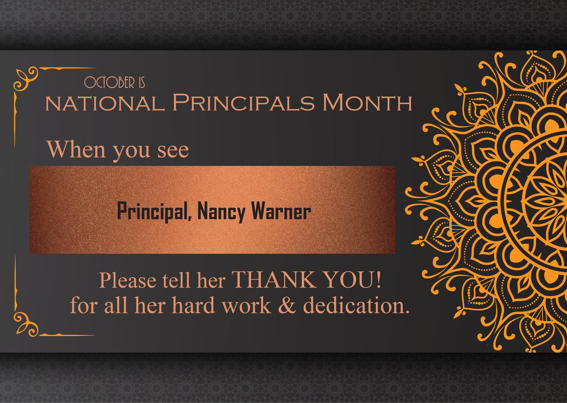 A graphic thanking Nancy Walker for her dedication as principal.