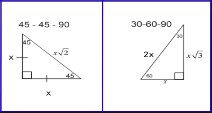 Special Right Triangles Formula