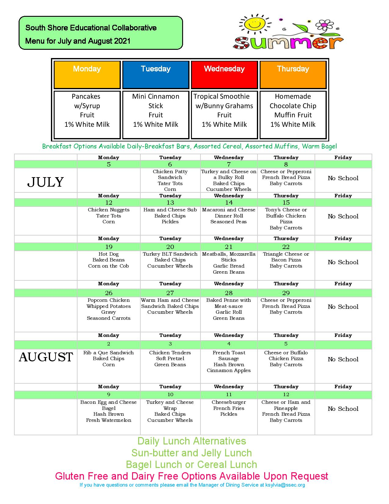 July and August 2021 Breakfast and Lunch Menu