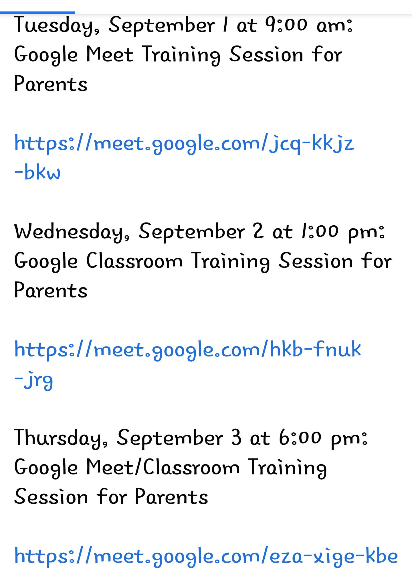 Meet links