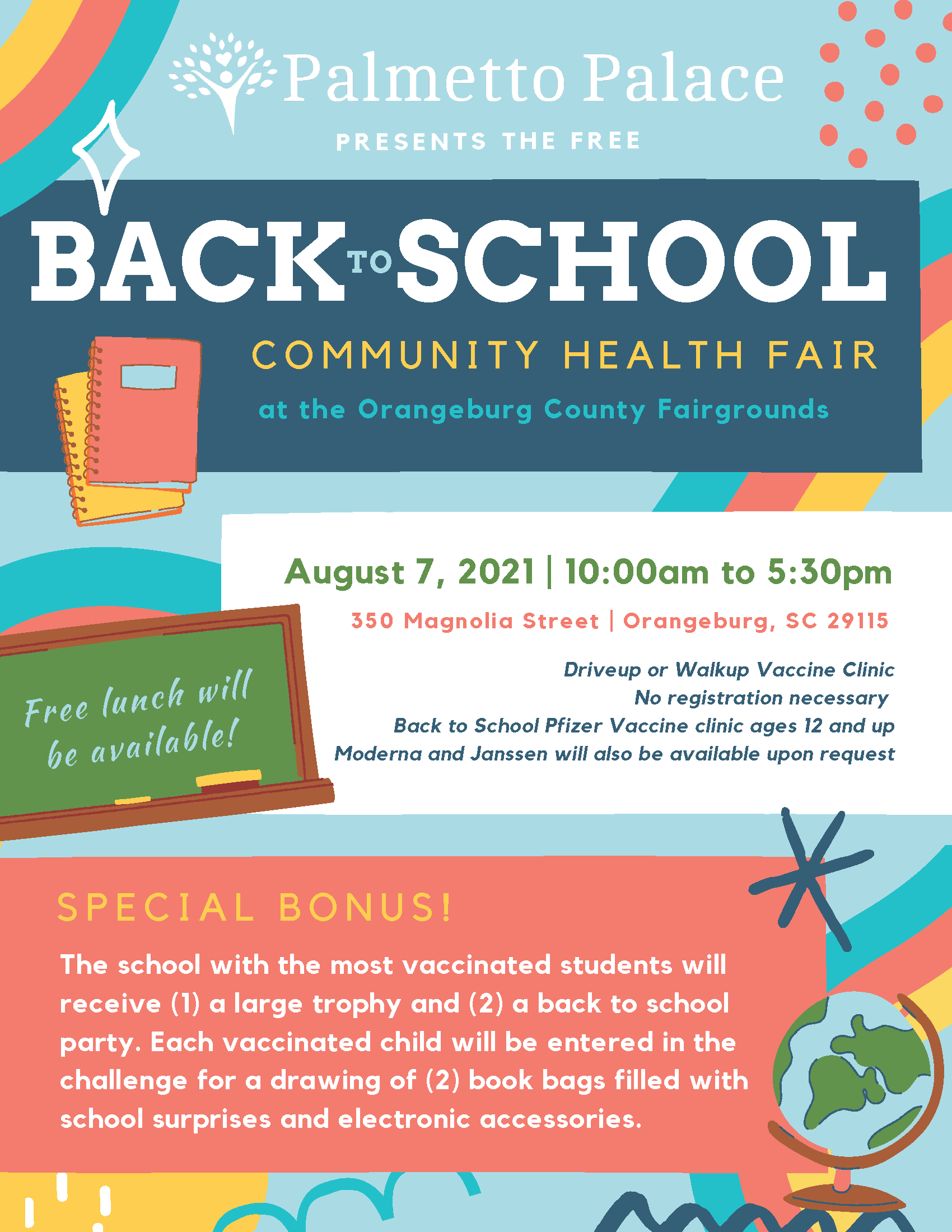 COMMUNITY HEALTH FAIR at the Orangeburg County Fairgrounds. August 7, 2021   10:00am to 5:30pm. 350 Magnolia Street   Orangeburg, SC 29115. Contact the District office for more information.
