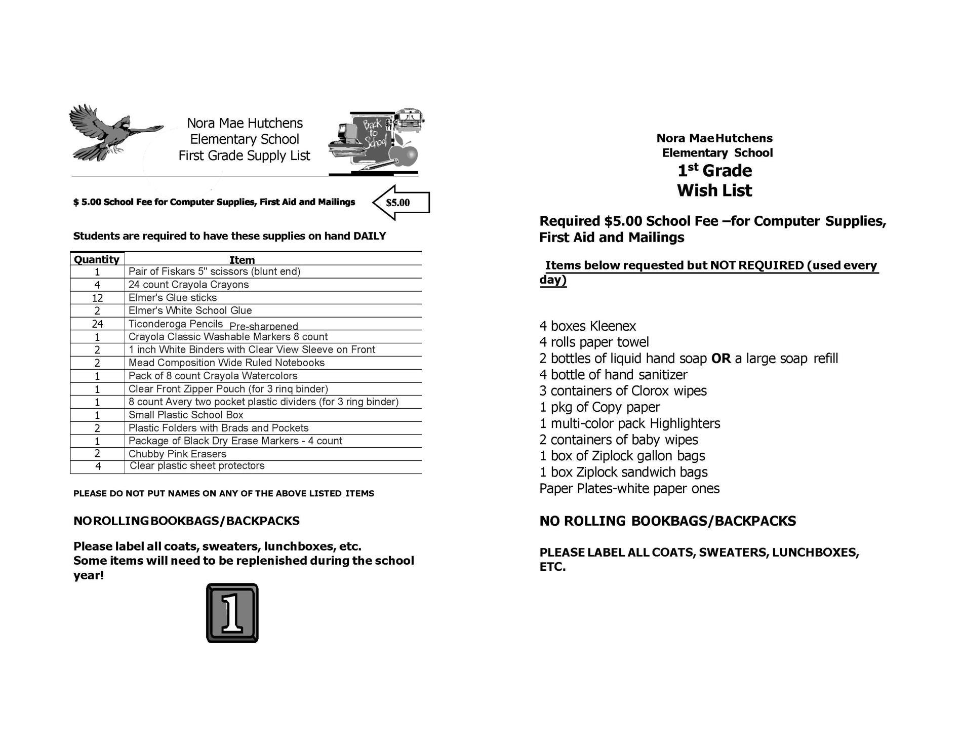 1st Grade Supply List 2021-2022