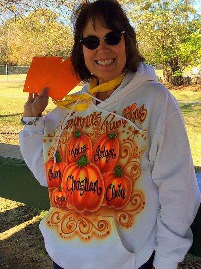Mrs. Lisa Cripps getting registered for the walk.
