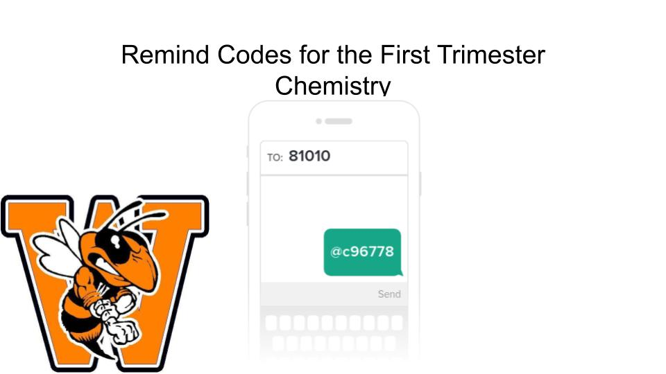 Chemistry Remind Code