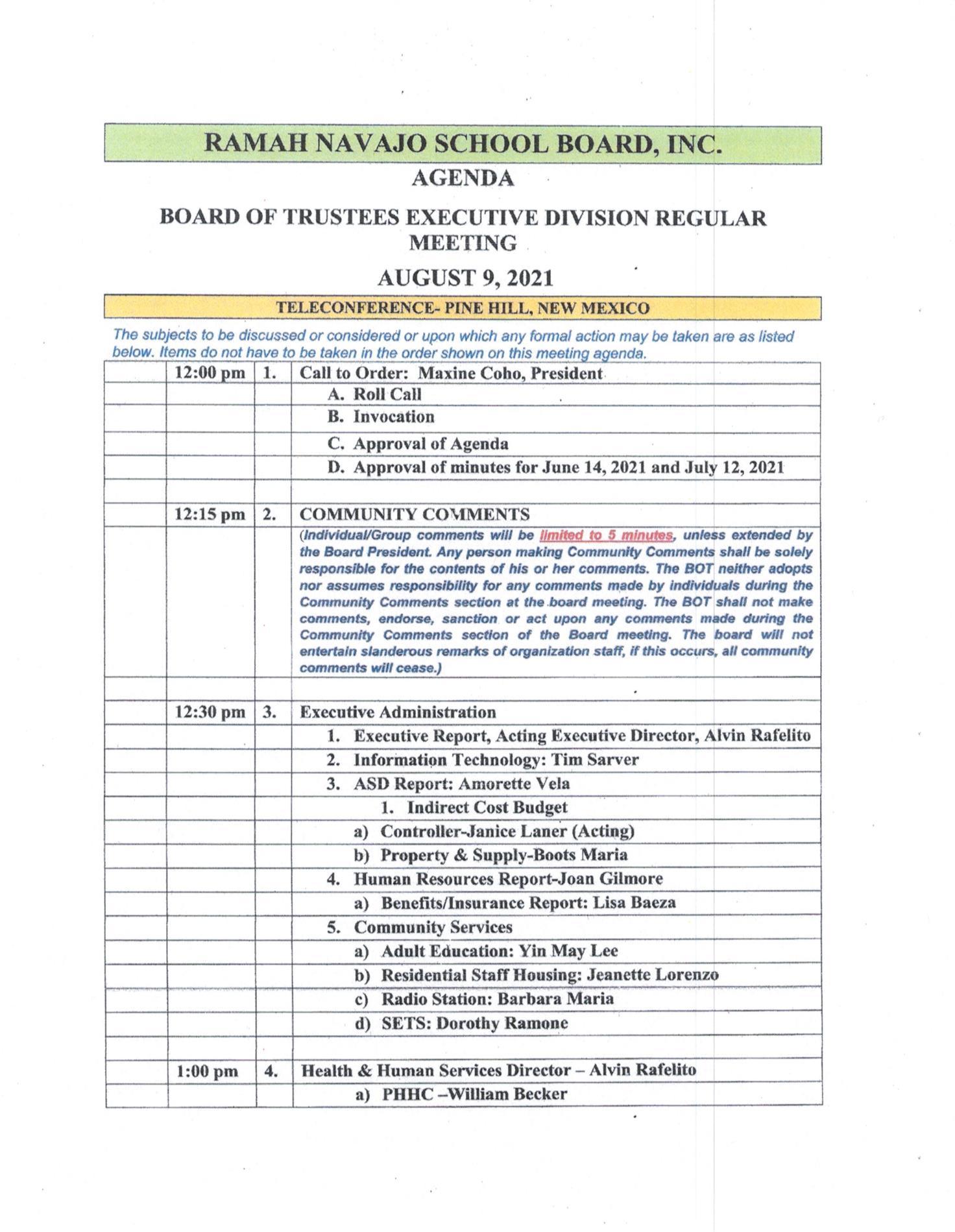Ramah Navajo School Board Meeting Agenda