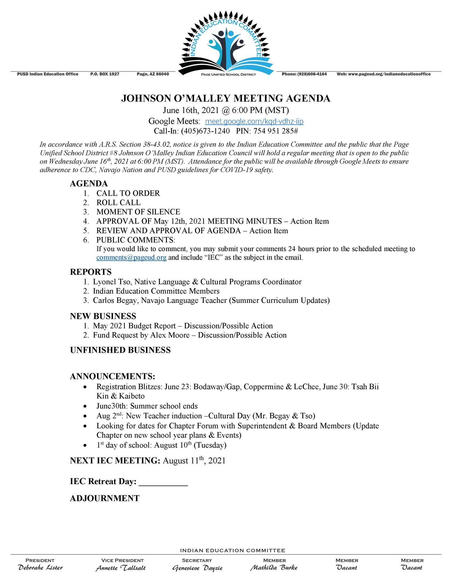 JUNE IEC Meeting Agenda