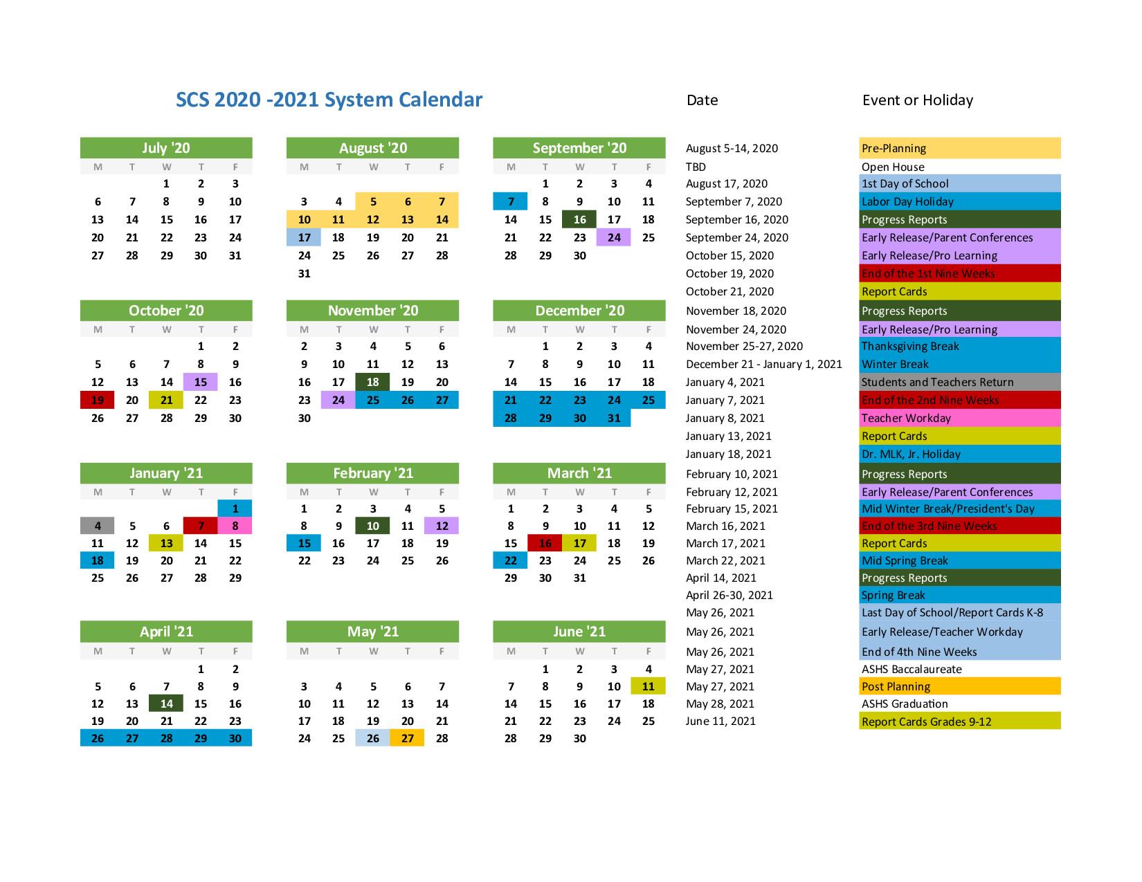 System Calendar - 2020-2021 School Year