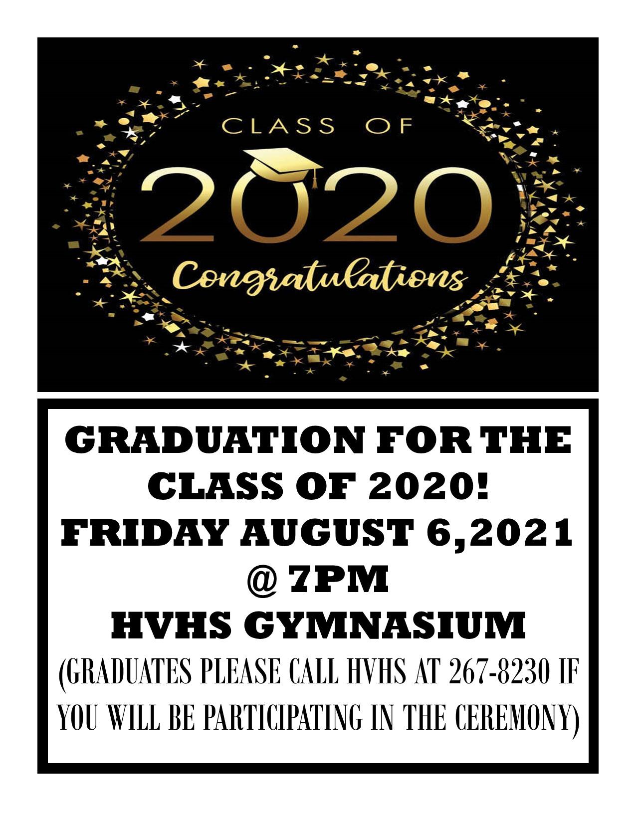 HVHS Flyer 2020 Graduation Cerimony
