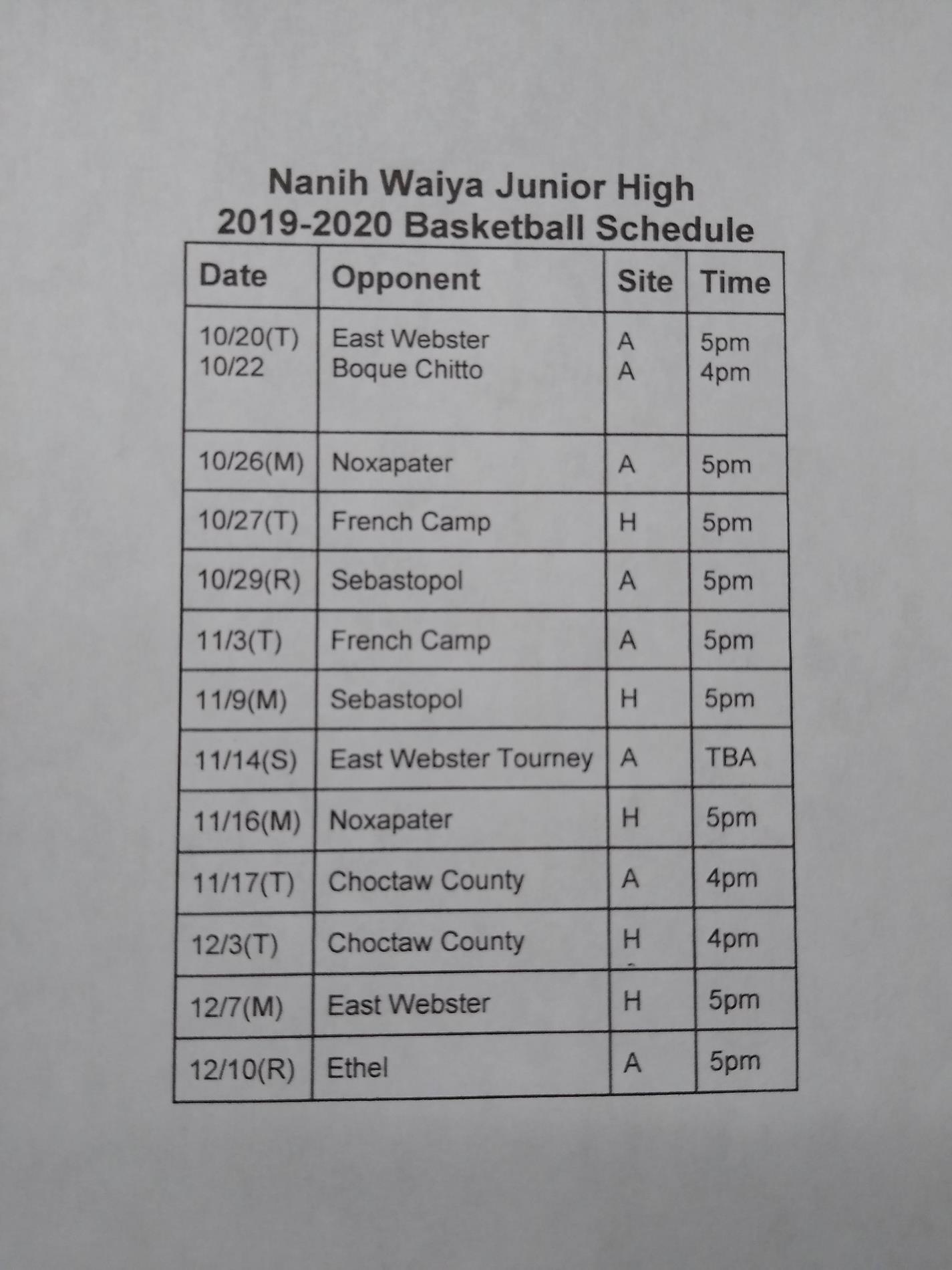 Jr High Basketball Schedule