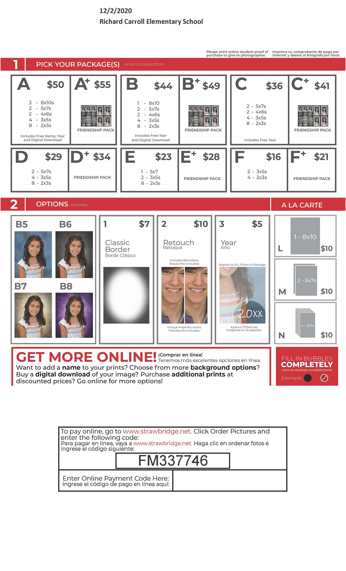 School picture purchase options