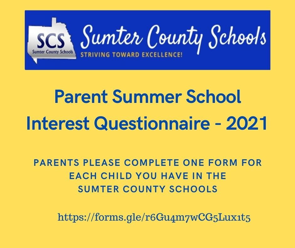 Parent Summer School Interest Questionnaire - 2021