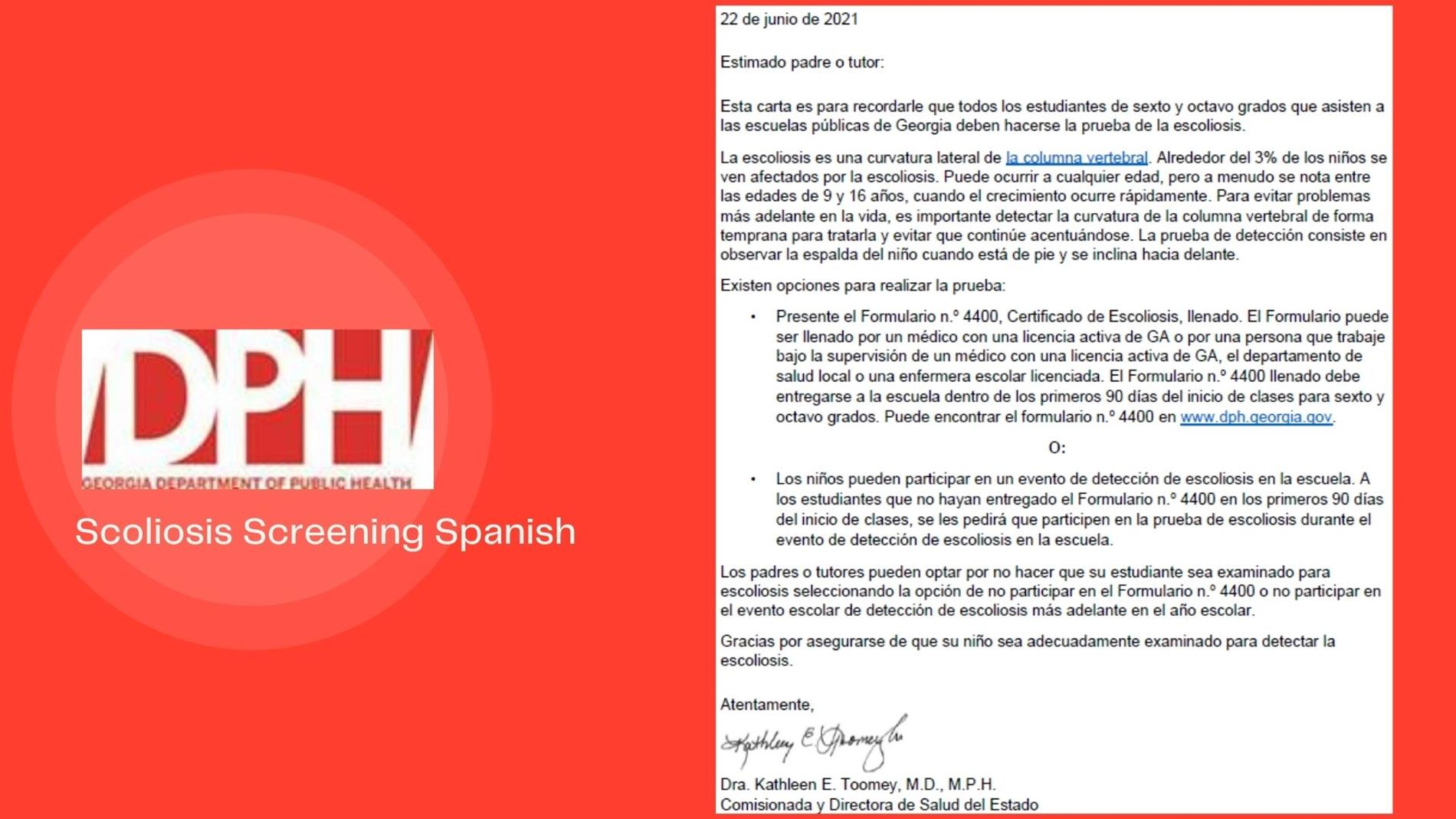 Scoliosis Screening Spanish