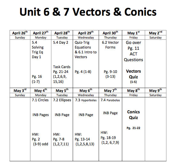 Algebra 3 Unit 6 & 7 Calendar