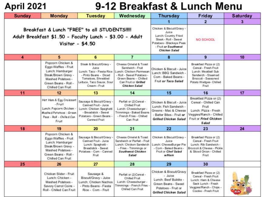 April Lunch/Breakfast Menu