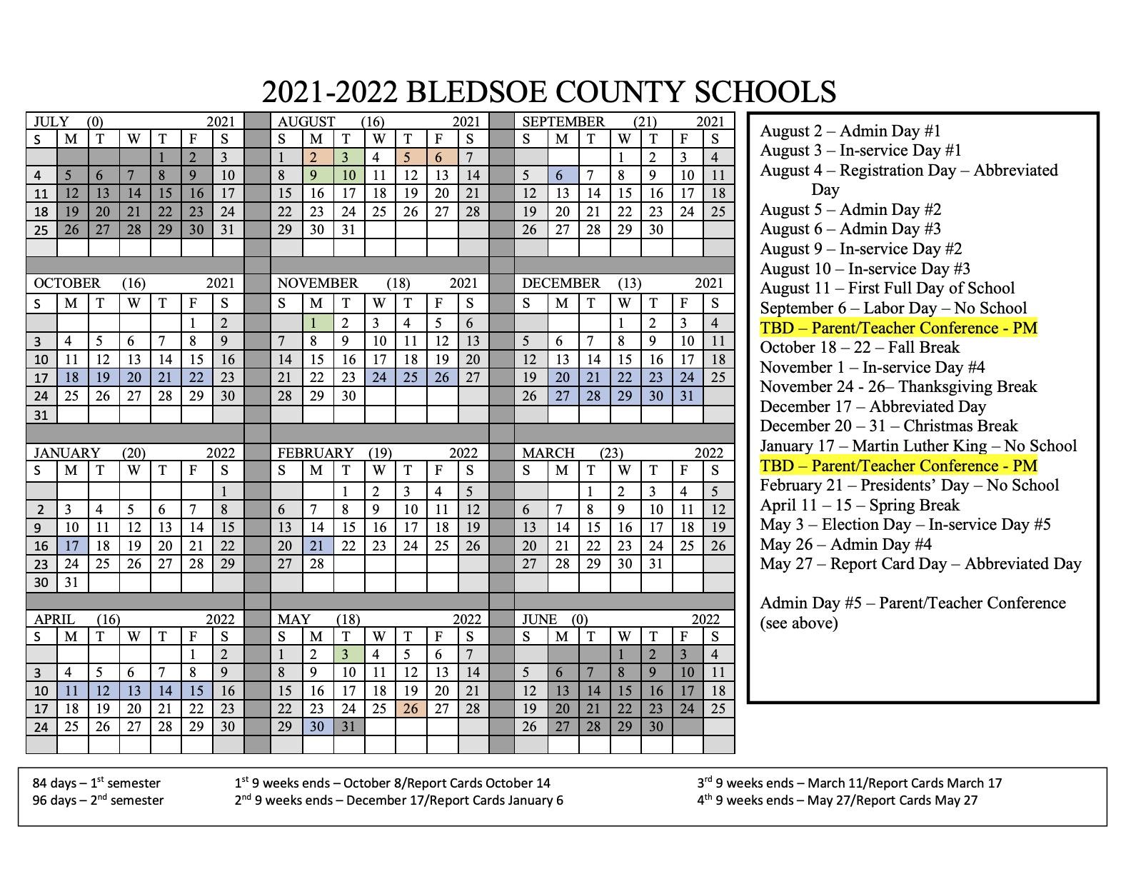 2021 - 2022 Calendar