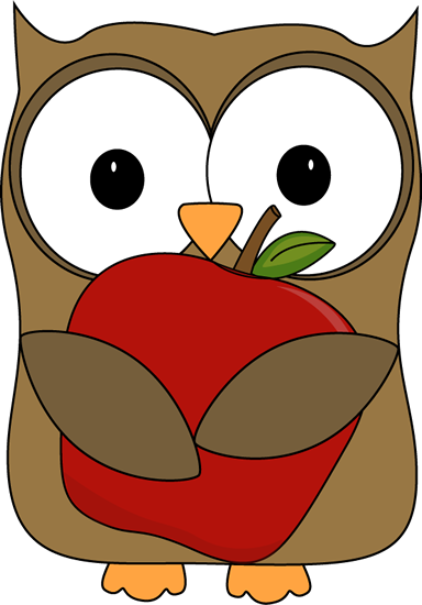 owl with red apple