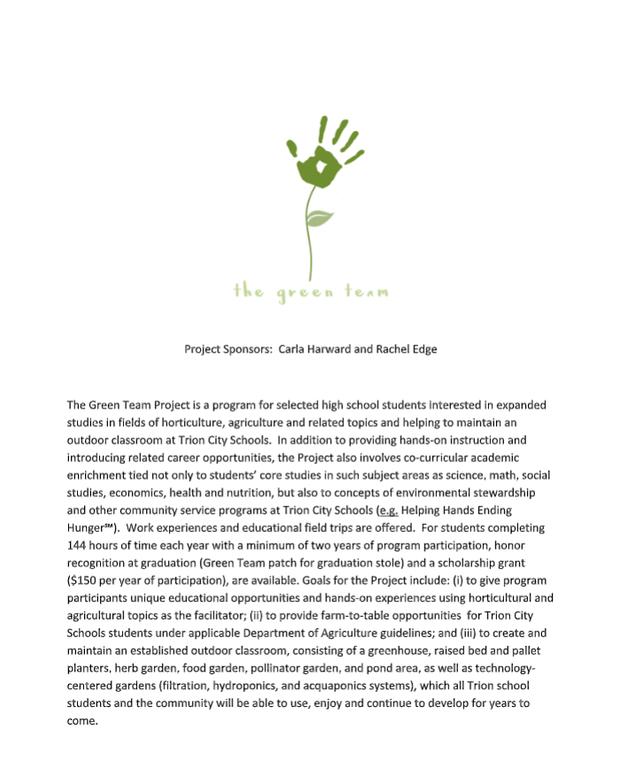 Green team letter