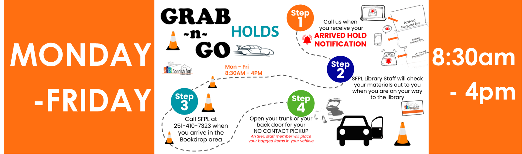 SFPL is currently offering a no-contact GRABnGO pickup service for ARRIVED HOLD items. Call us for details 251-410-7323