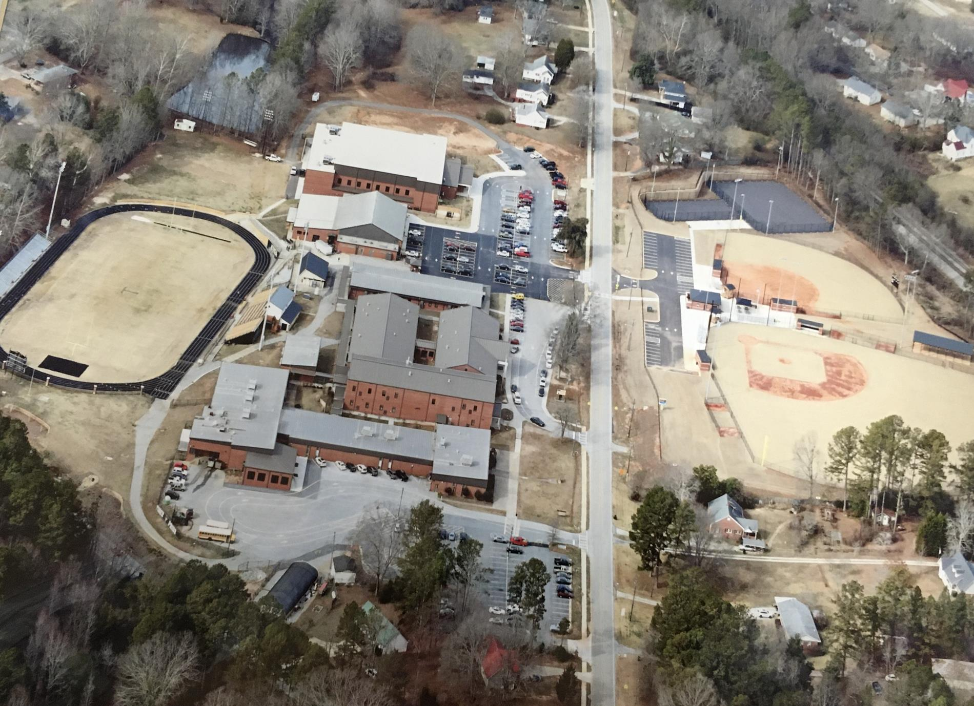 Aerial view of current campus as of 2019 (taken 2015)