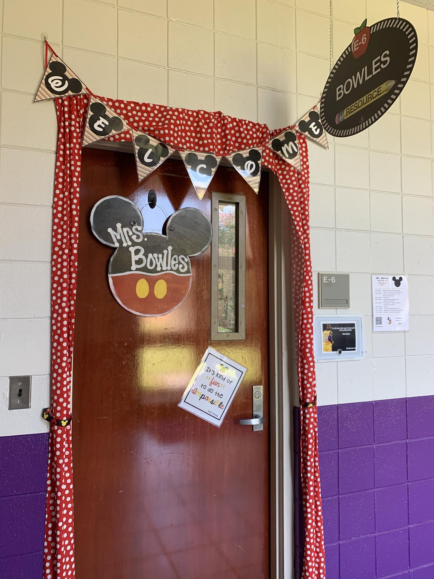 Mrs. Bowles's Classroom Door