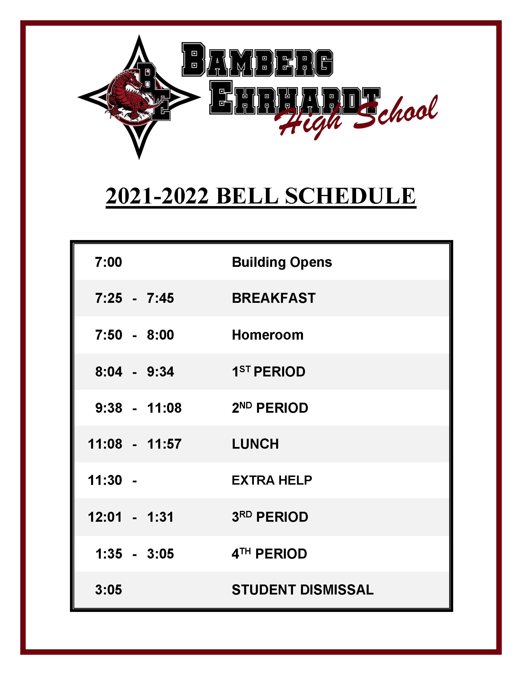 Bell Schedule Image, Downloadable version available below