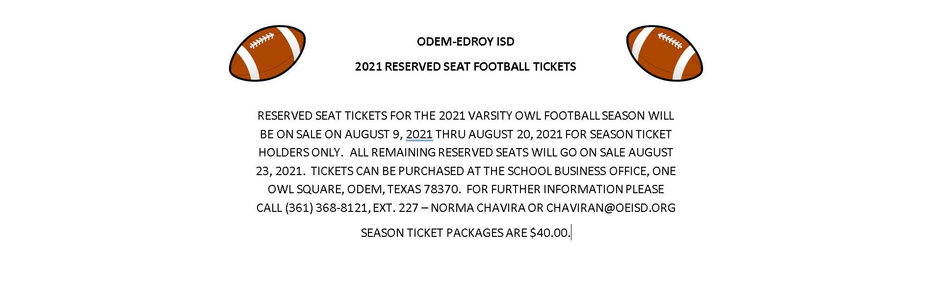 2021 RESERVED SEAT FOOTBALL TICKETS