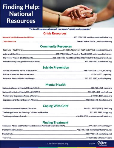 suicide crisis resources