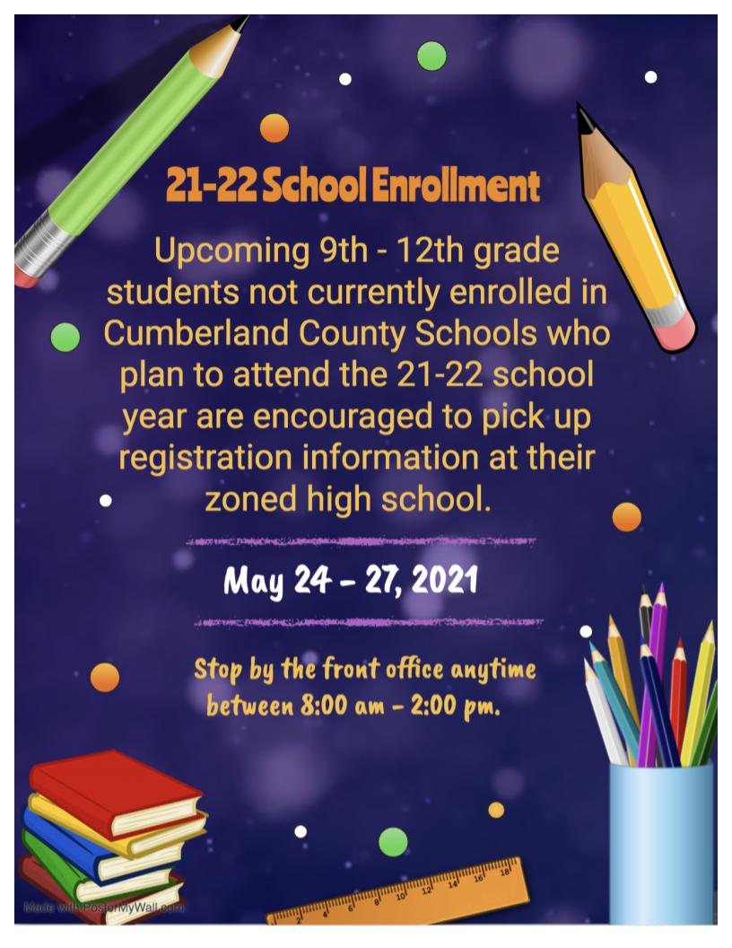 2021-2022 Enrollment for 9th-12th