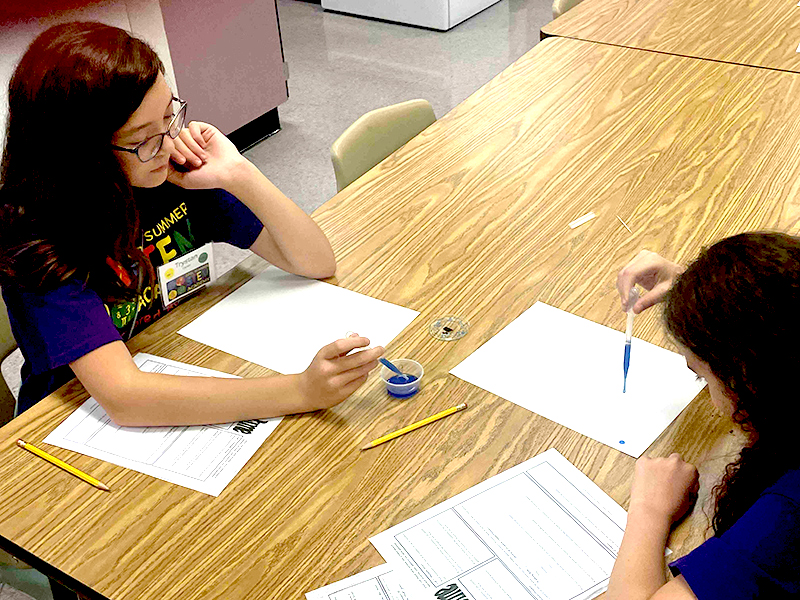 girls work on experiment at STEM Academy