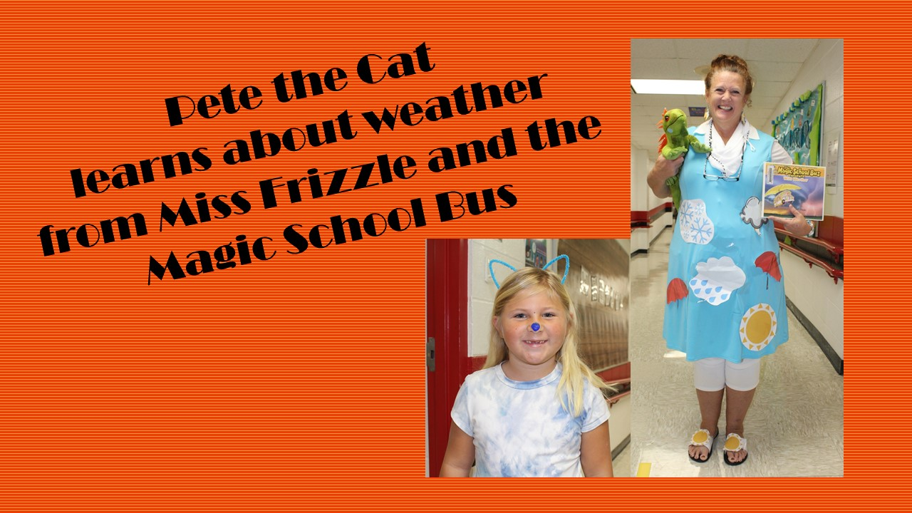 Student dressed as Pete the Cat and a teacher as Ms Frizzle