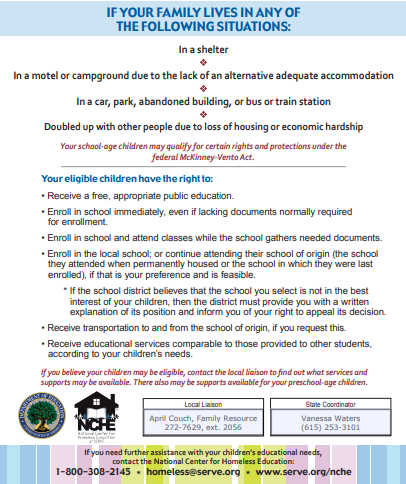 parent information on homelessness