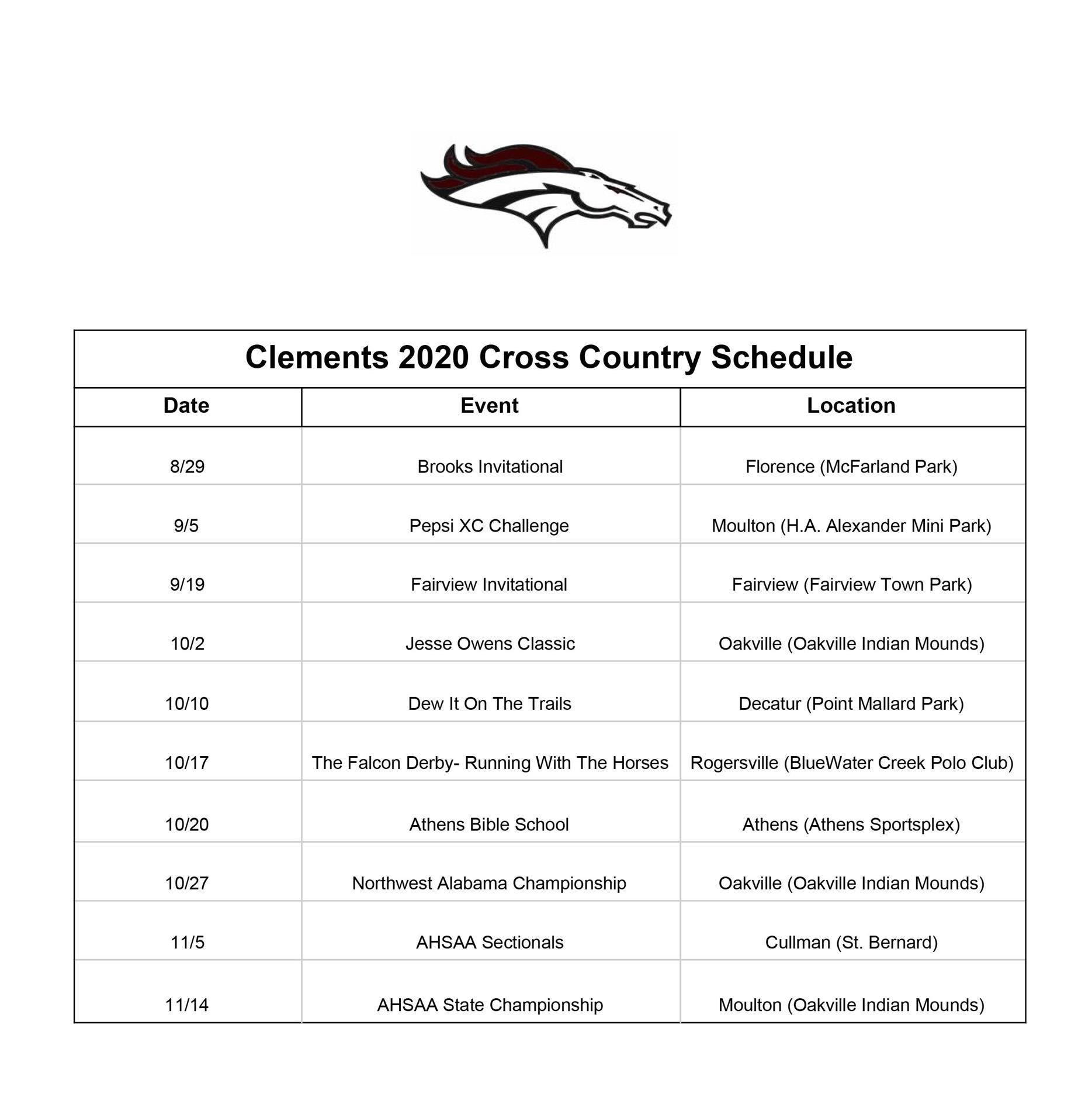 Clements Cross County Schedule