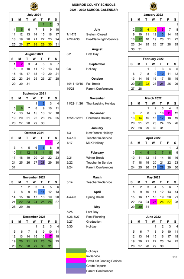 Monroe County Schools 2021-2022 Calendar